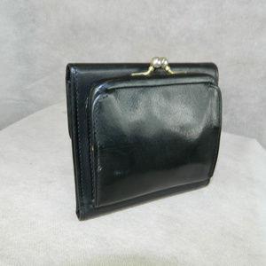 COACH VINTAGE Kisslock Wallet Black Trifold EXC